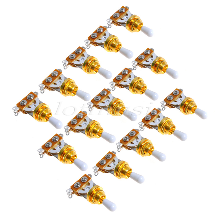 15Pcs Gold Guitar 3 Way Toggle Switch Pickup Selector with White Tip For Electric Guitar Replacement electric guitar wiring harness prewired kit 5 way toggle switch 250k 2t1v pots for strat parts set of 10