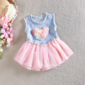 Free Shipping 4 Pieces/lot 0-3 Years Baby Girl Summer  LOVE dress Washing Elastic Denim Princess Sweet Tutu Dress