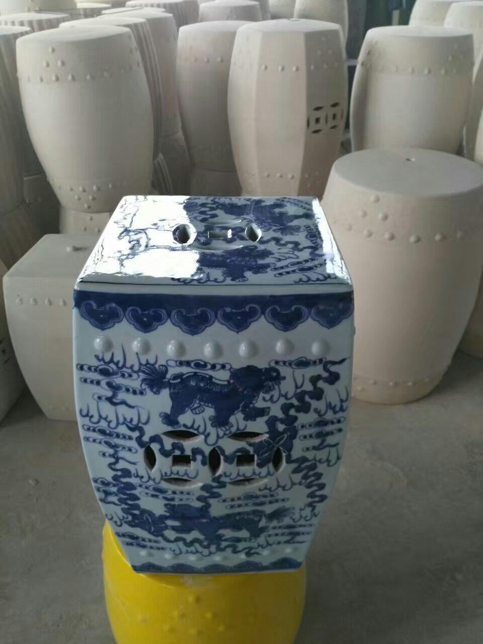 Blue And White Jingdezhen Large Garden Porcelain Drum