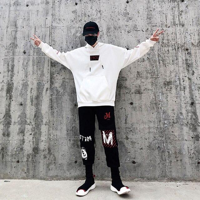 Casual Two Piece Set Men Hoodies Cotton Tracksuit Loose Streetwear Jogging Korean Style Hoodie Set Hip Hop Clothes Men 50na84