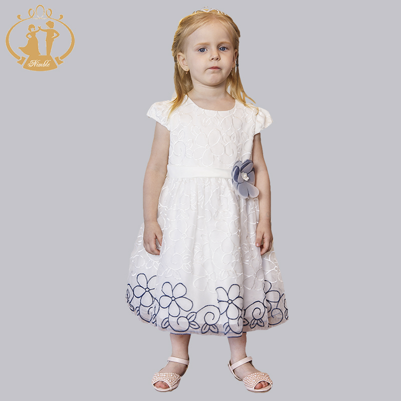 ФОТО Nimble baby girl dress for wedding party new style princess girls dresses three-dimensional embroidery