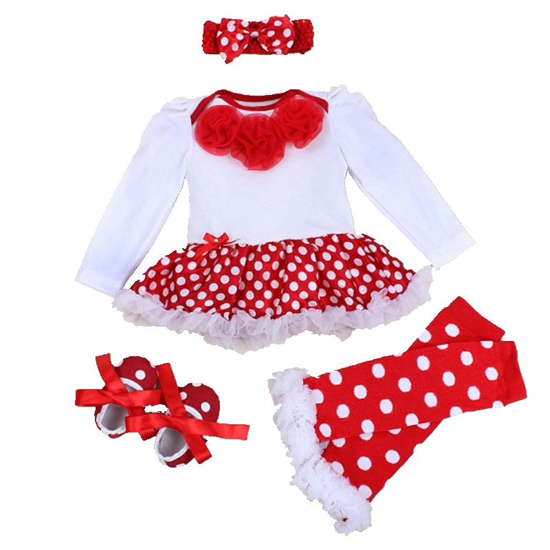 Polka Dots Bebes Long Sleeve Romper Dress Legwarmers Headband Crib Shoes 4PCS Newborn Baby Girl Tutu Set Toddler Girl Clothing