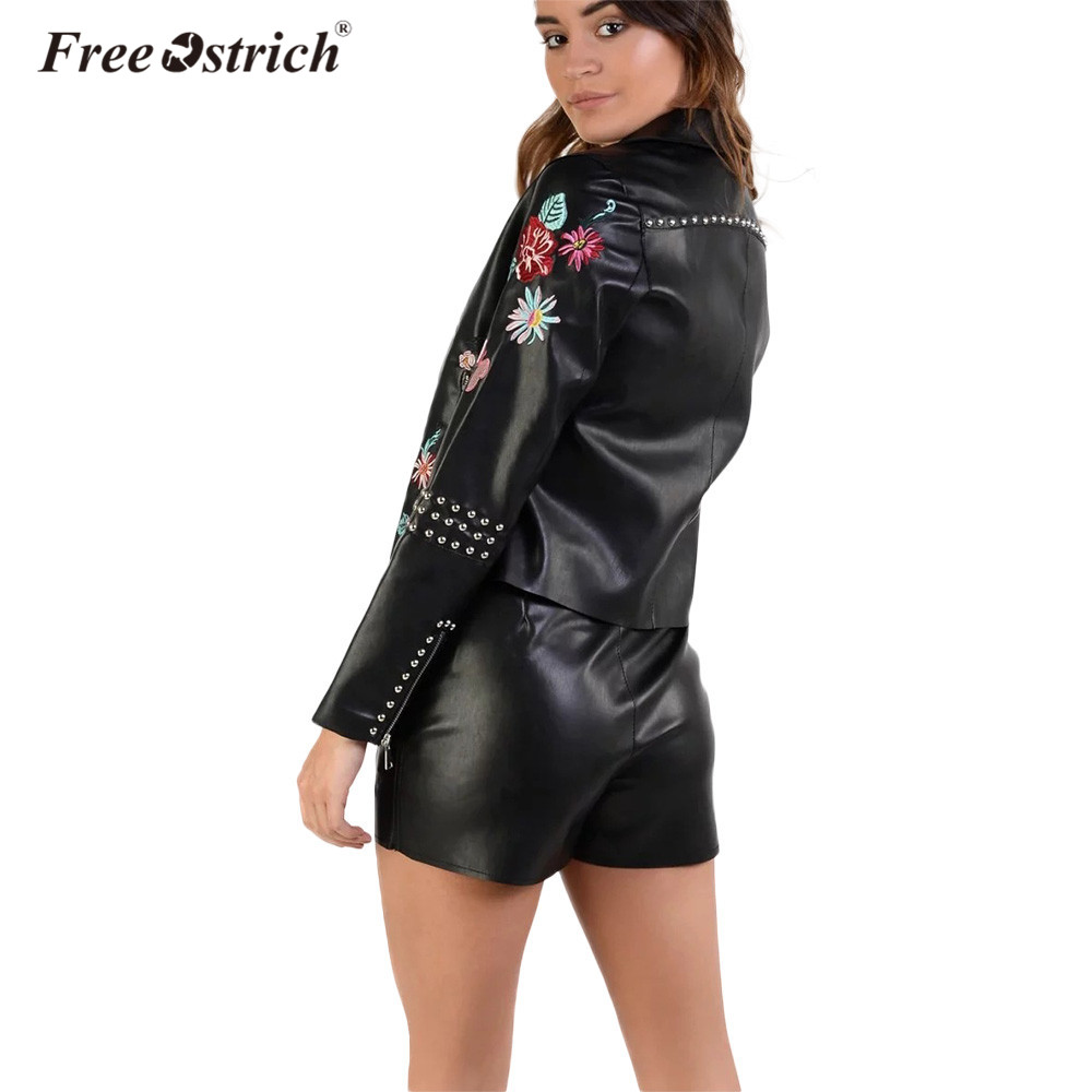 Free Ostrich Coat PU Leather Jacket Women Flowers Embroidery Slim Motorcycle Zipper Coat Long Sleeve Women Clothes Dropshipping