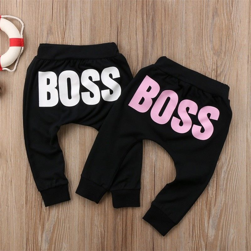Kids Baby Boy Girl Casual Unisex Harem PP Pants BOSS Letters Printed Children Clothes Elastic High Waist Trousers Leggings