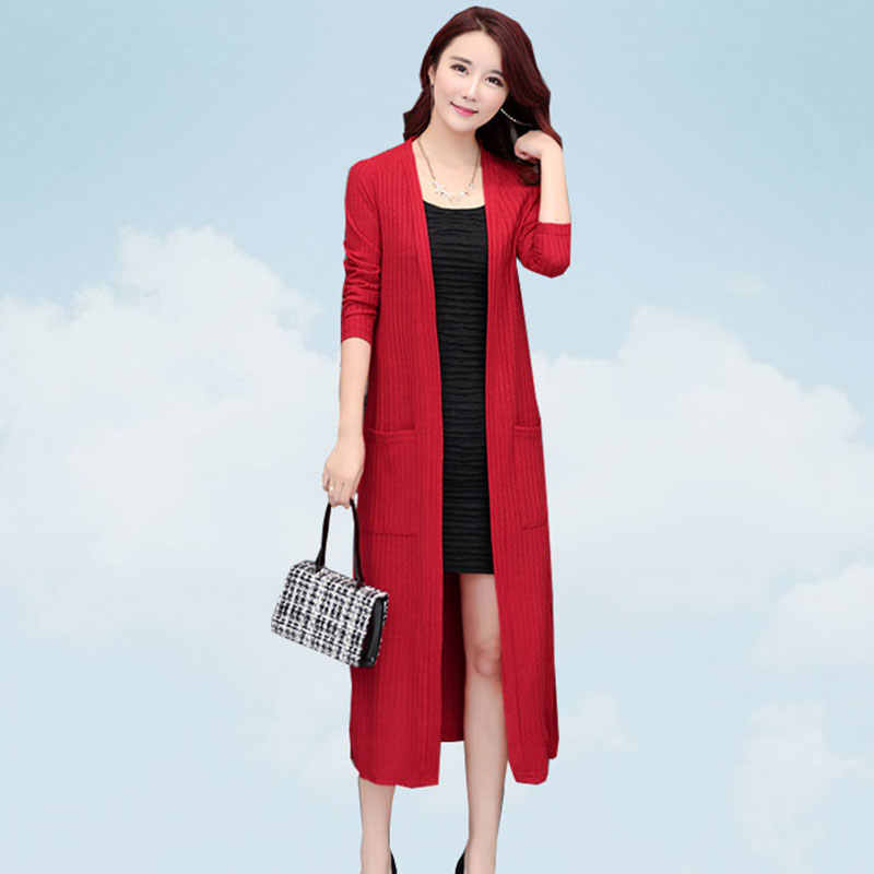 2019 New Spring Autumn Women Sweater Shawl Coat Wine Red Korean Female Cardigan Of the Solid Color Plus size feminino coat SS11