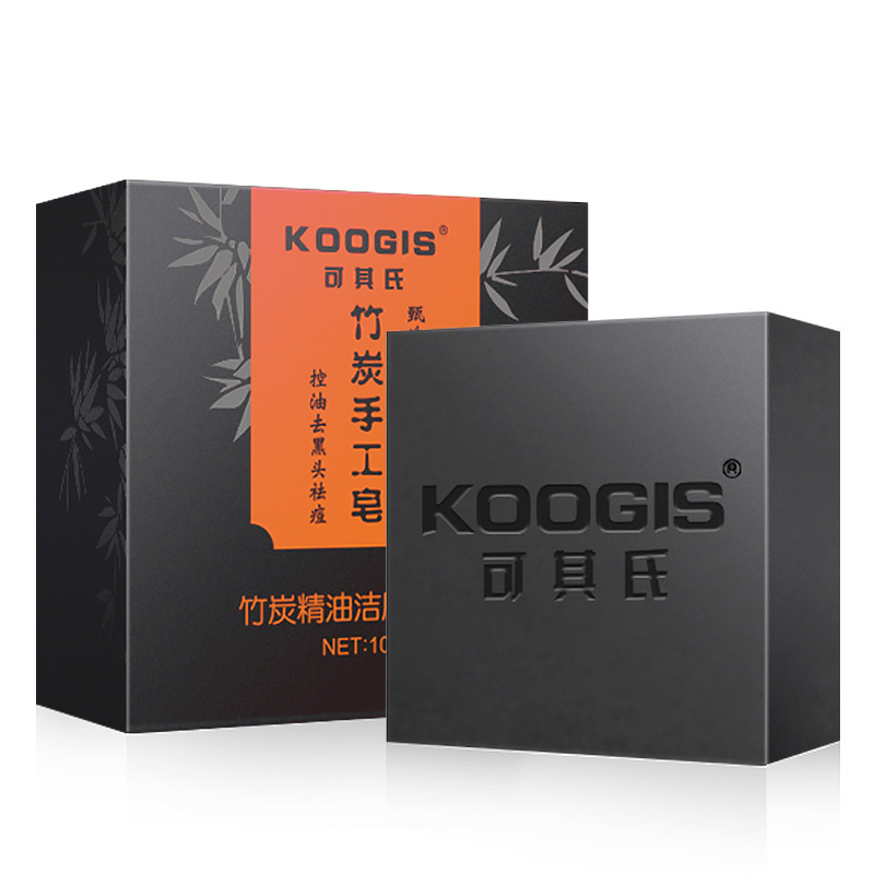 Koogis Handmade Bamboo Charcoal Soap Body Care Makeup Black Face Soap Bathing Face Cleanser Oil Control Dispel Black Head Ance