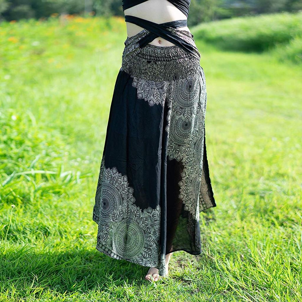2020 Women Summer Casual Long Hippie Bohemian Cotton Gypsy Boho Flowers Bow Elastic Waist Floral Bohemian Halter A-Line Skirt 50