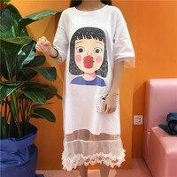 Women Fashion Faux 2pcs Mesh Dress Korean Style Cartoon Girl Printed T Shirt Dress Plus Size
