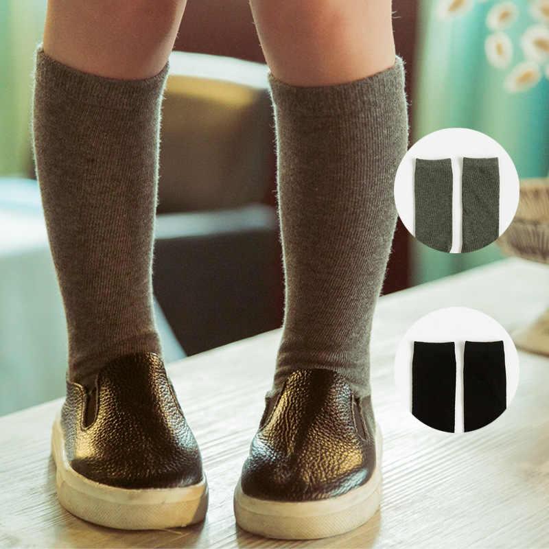 Calcetines altos de algodón hasta la rodilla para niños niñas Color sólido lindo sin dibujos animados calcetines largos niños invierno botas calcetines a rayas negro color gris