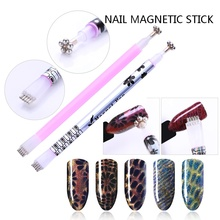 1 Pc Dual-ended Cat Eye Magnetic Stick Flower Strip Pattern For UV Gel Nail Art Tool