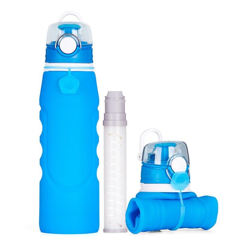 Складной бутылки с водой, бисфенол-силикон Бутылки для воды с 2-этап встроенный фильтр, герметичность, 1000 мл для кемпинга, Пеший Туризм