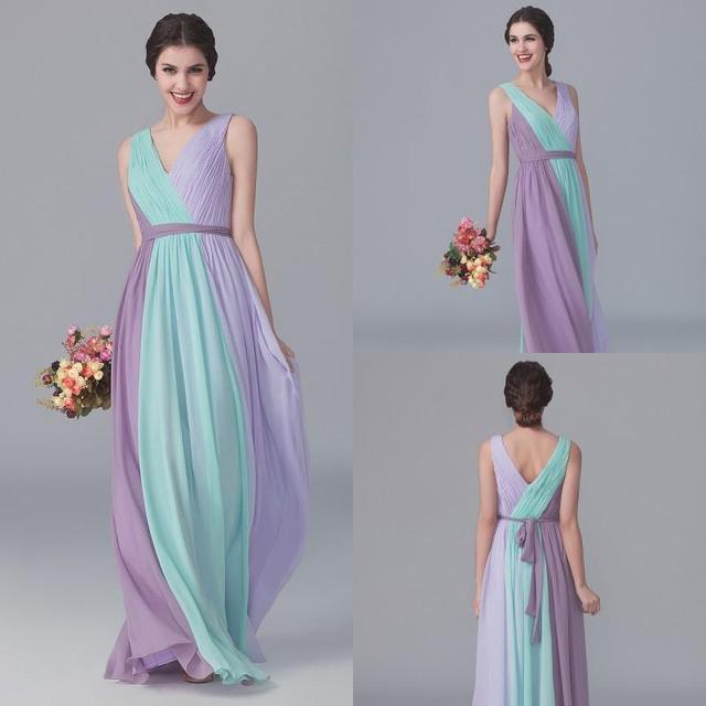 Colorful Chiffon Long Bridesmaid Dresses 2017 Lilac Mint Lavender V Neck Wedding Party Maid Of