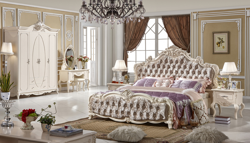 Laluz Bedroom Furniture Bedroom Set Wooden Bed Solid Bed Genuine Leather  Bed King Size French Style