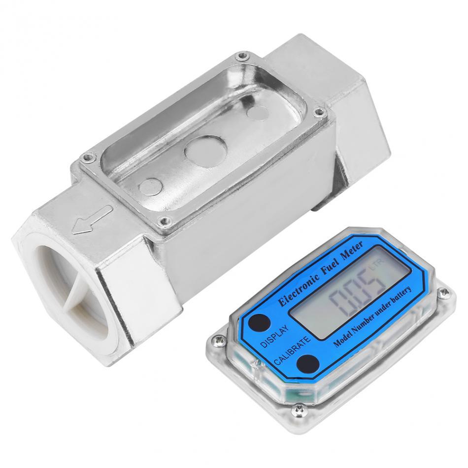 цена на Mini Liquid Flow Meter LCD Digital Turbine Flowmeter Diesel Fuel Flowmeter 15-120L 1.5inch NPT Blue Water flow meter