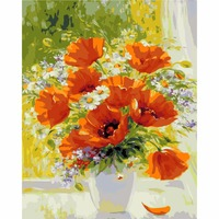Framless Picture Painting By Numbers Modern Flower Home Decor For Living Room Hand Unique Gifts Picture