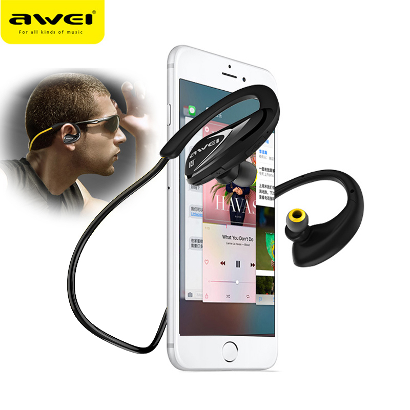 AWEI A880BL Sport Nirkabel Headphone Bluetooth Earphone Fone de ouvido Untuk Telepon Ecouteur Cordless Headset Lubang Suara