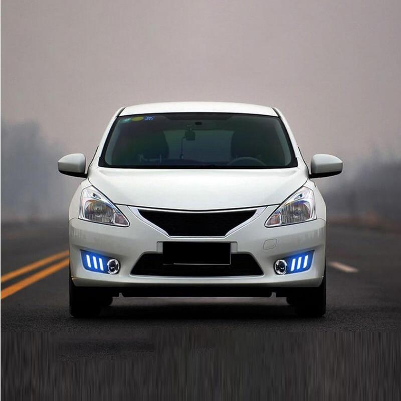 ShenLao led drl feux de jour pour Nissan TIIDA 2011 2012 2013 2014 2015 jaune clignotant et bleu nuit feux de circulationShenLao led drl feux de jour pour Nissan TIIDA 2011 2012 2013 2014 2015 jaune clignotant et bleu nuit feux de circulation