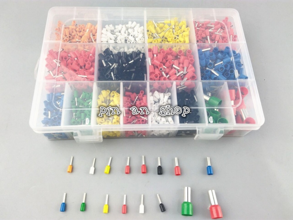 7 color 6 value 2120pcs/lot Bootlace Ferrules kit set Wire Crimp Connector Insulated Cord Pin End Terminal wholesal e1008 insulated cable cord end bootlace ferrule terminals tubular wire connector for 1 0mm2 wire 1000pcs
