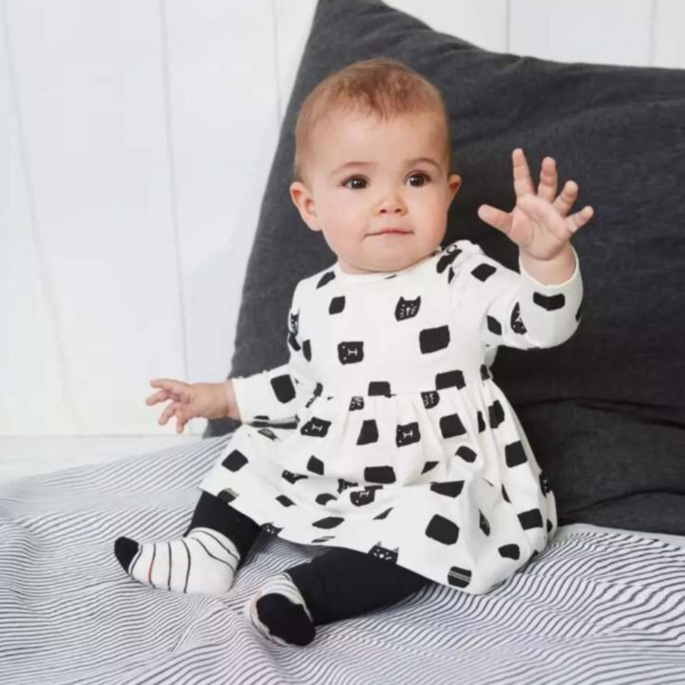 New Hot Fashion Cute Kids T-shirt pants baby Clothes Sets Autumn Skirt Baby Girls Outfit Dress Leggings 2 pcs 2016 hot selling baby kids girls one piece sleeveless heart dots bib playsuit jumpsuit t shirt pants outfit clothes 2 7y