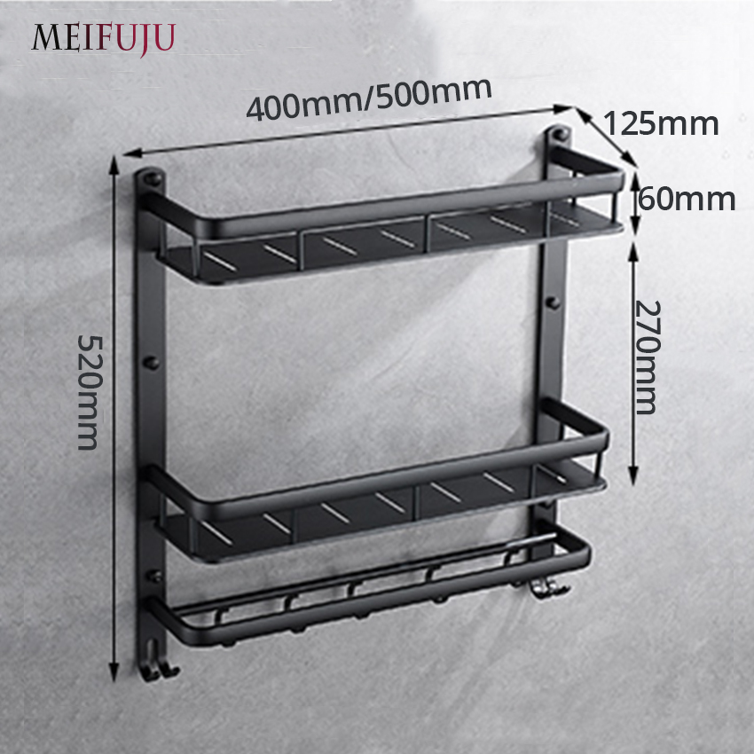 MEIFUJU NEW Aluminum Bathroom Shelf Black Gold Bathroom Shelves Rack ...