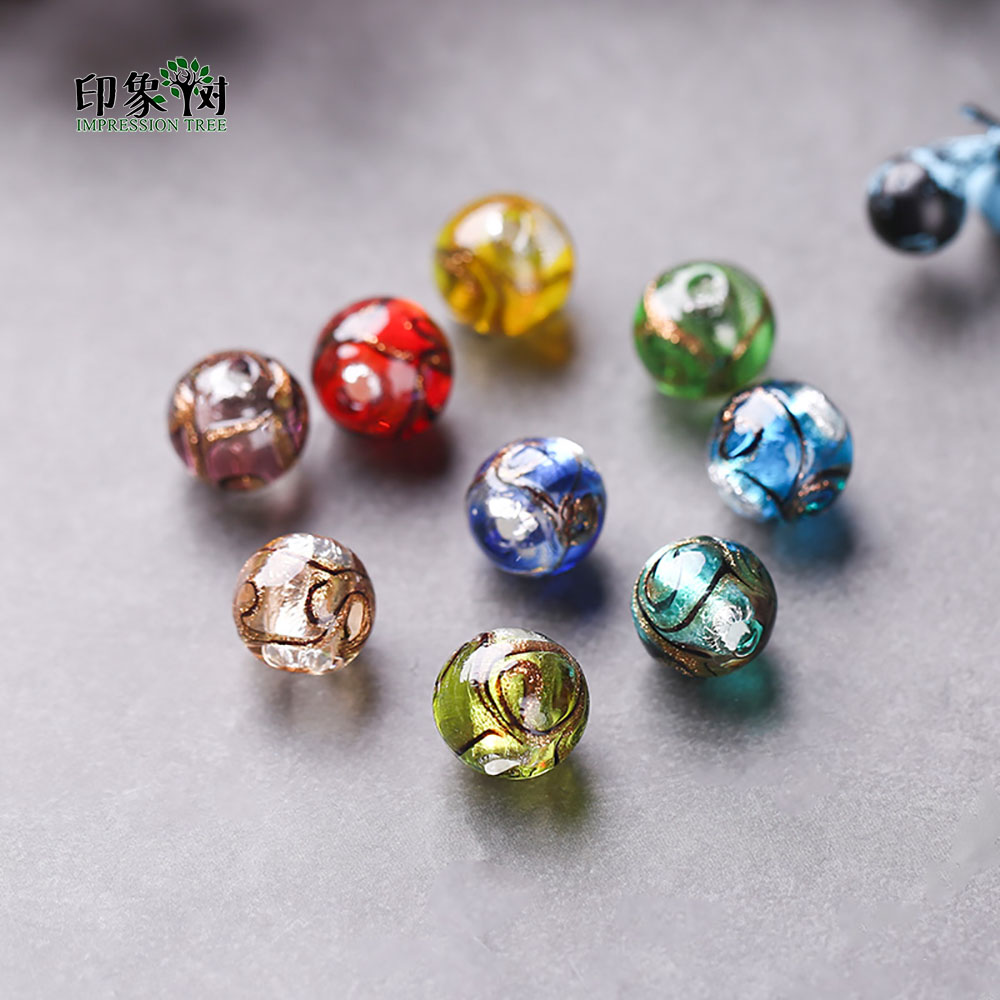 Radient 12mm 10pcs Sands Powder Handmade Lampwork Glazed Beads Transparent Japanese Crystal Round Spacer Beads Diy Jewelry Makings 1604 Beads & Jewelry Making