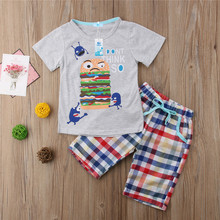 Emmababy 2019 Hot Sale 2PCS Set Boys Clothes Short Sleeve Cartoon O-Neck Funny Hamburger Pattern Plaid Pants Handsome Streetwear