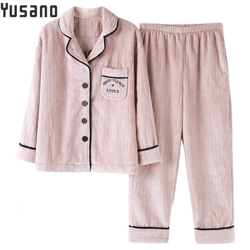 Yusano pyjama ensemble hiver femmes Pyjamas ensembles épais col en v chaud corail velours costume flanelle à manches longues vêtements de nuit féminins vêtements de nuit