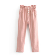 Summer Pink Pencil Pants Pockets Women Fashion Cute Solid Buckle Full Loose High Wasit Slim Thin