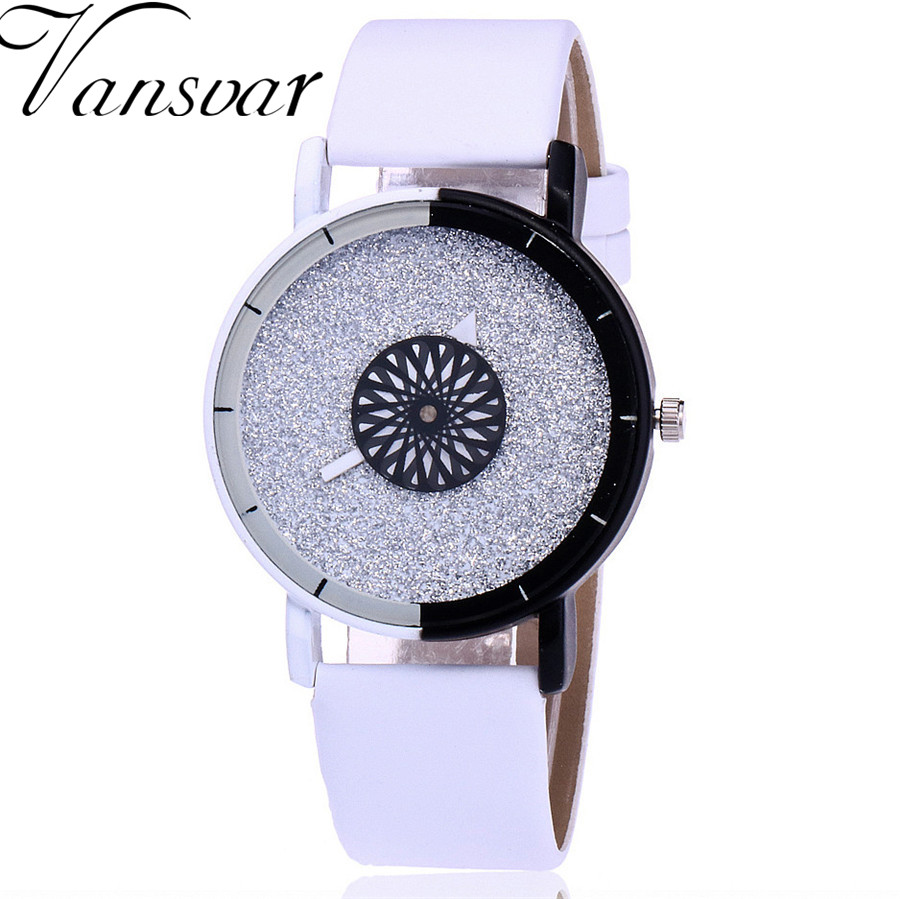 Vansvar Brand Fashion Women Wristwatch Luxury Casual Candy Leather Quartz Watch