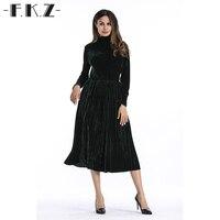 FKZ Vogue Autumn Dress Women A Line Style Fall Female Dress Holiday Velvet Long Sleeve Turtleneck