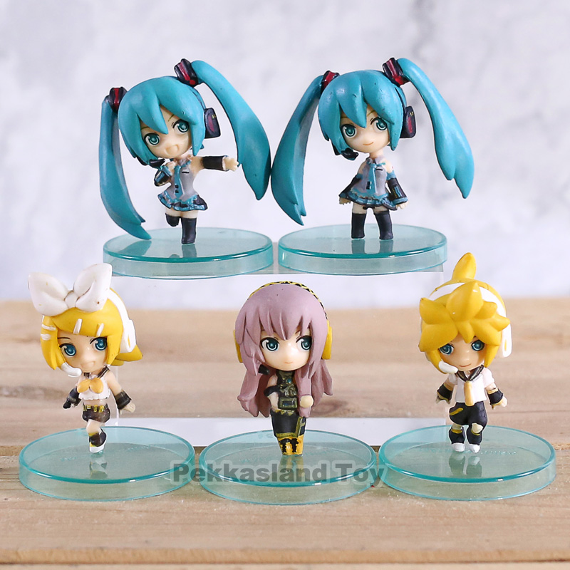 5Pcs/set Q vision 4cm Hatsune Miku <font><b>Kagamine</b></font> <font><b>Rin</b></font> PVC Action <font><b>Figure</b></font> Model Toys Doll image