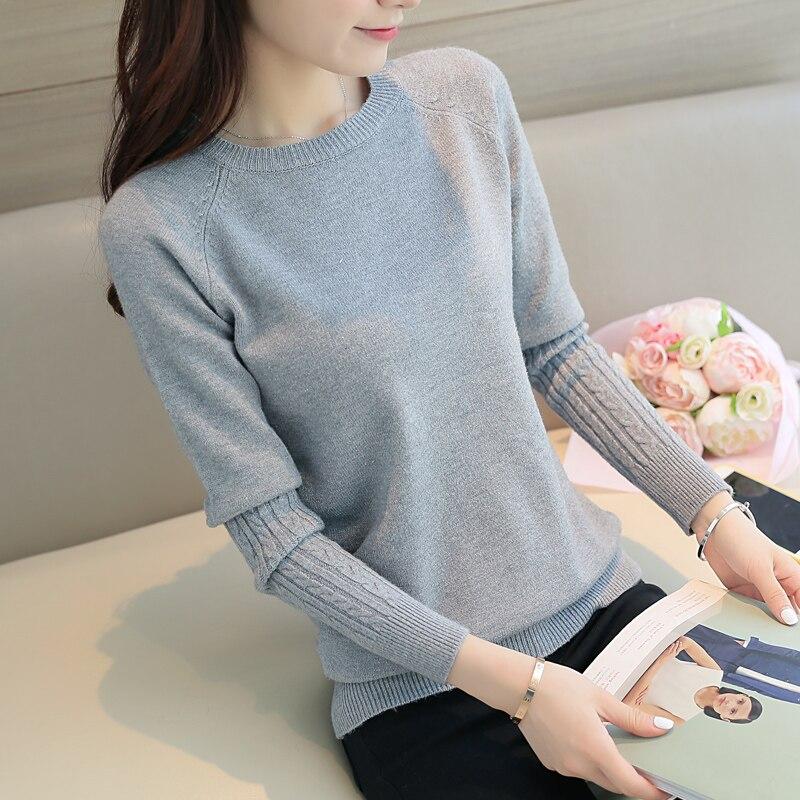 f6d14a6264a3d 2018 upadek nowy Koreański kobiety slim cotton Crewneck sweter płaszcz cały  mecz długi rękaw koszula sweter cienka