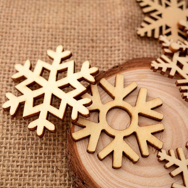 10pcsset assorted wooden snowflake laser cut christmas tree hanging decor ornament 51cm