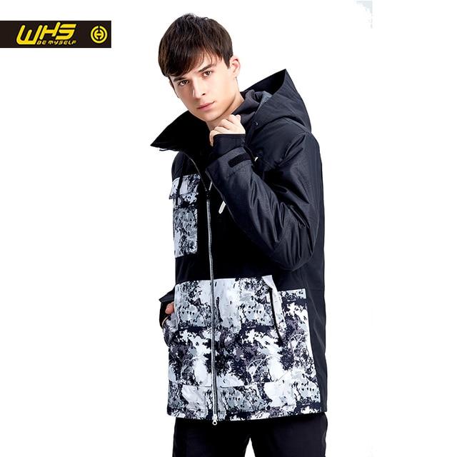 WHS новая пара зимняя Лыжная куртка уличная Снежная хлопковая спортивная мужская теплая уличная куртка водонепроницаемая и ветрозащитная Черная куртка
