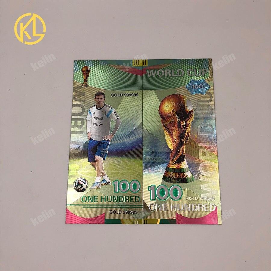1 шт. хорошая цена Россия банкнот спортивные 100 рублей золотых банкнот в центре сообщений в течение 24k Gold Фольга с Национальный российский Футбол команды - Цвет: Messi-silver
