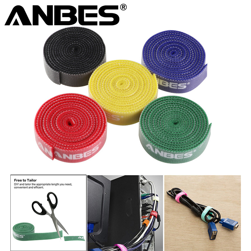 """Pack of 5 4/"""" Nylon Velcro Cable Ties Tidy Straps For Cables Chargers Headphone"""