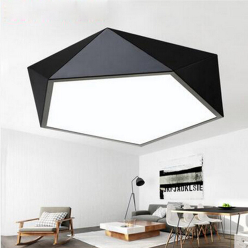 Iron Ceiling Lights LED Lamp Geometric Polygon Baked Paint Body Acrylic Faceplate Panel for Bedroom Light Fixture a1 track led ceiling lights iron