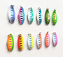 3.5g Ice Fishing Lure Spoon Bait Single Hook Pure Copper Metal Double paint Luminous Tackle Salt or Fresh Water Fish