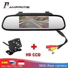 AMPrime rétroviseur de voiture, moniteur vidéo HD de 4.3 pouces, Assistance au stationnement automobile, CCD, Vision nocturne LED, caméra de recul