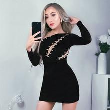 Sexy Cut Out Bandage Dress New Fashion Chain Celebrity Party Dress Women Bodycon White Black Clubwear Vestidos