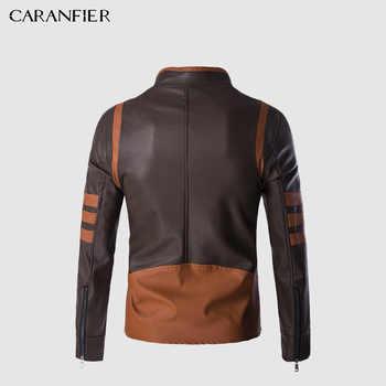CARANFIER Mens Leather Jackets Men Faux Fall Winter Coats Punk Motorcycle Biker Male Suede Jacket Windbreaker Bike Riding Coat