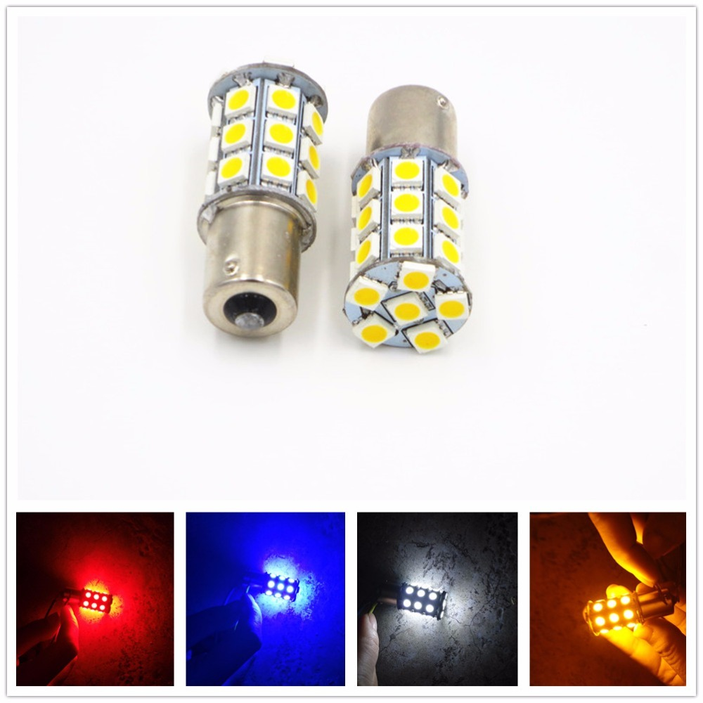CYAN SOIL BAY LED Car Brake Bulb 1156 Ba15s P21W 27SMD 27 SMD 5050 Backup Turn Signal Tail Light Red Amber Yellow White Blue 24V cyan soil bay amber yellow red h1 4014 led 92 smd high power car fog driving light bulb lamp