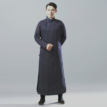 Chinese Style Costumes Mens Cotton Linen Gowns Shirt Coat Male Stripe Long Sleeve Shirts Robes Overcoat