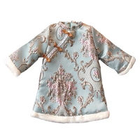 2017 Chinese Blue And White Porcelain Embroidery Girls Dress Baby Winter Thickening Cheongsam Dress Kids Plush