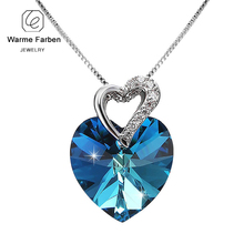 ФОТО warme farben crystal from swarovski women necklace fine jewelry blue crystal heart pendant necklace fashion jewelry collares