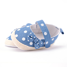 Summer Bowknot Baby Shoes Polka Dots Hook & Loop Little Baby Girls Crib  Shoes Canvas Anti-slip First Walker