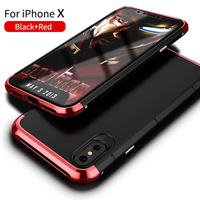 Showkoo Luxury For IPhone X Case 360 Full Protection 3in1 Aluminum Metal PC Hard Hybrid Slim