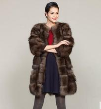"New 2017 Brands Natural Fox Fur Coats jackets Sable Mink Color Long women ""s genuine fox fur coats outerwear"