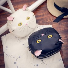 Lovely cat big eyes shoulder bag with cat ears korean and japanese style cute messenger bag chain fresh round cross shoulder bag