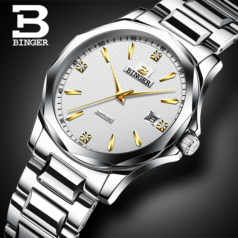 Classic Business Designer Men Crystals Watches Simple Fashion Full Steel Calendar Wristwatch Quartz Elegant Saphir Montre Hommes